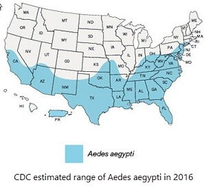 estimated range of Aedes aegypti mosquitoes in 2016